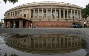 A view of the Indian parliament building is seen in New Delhi