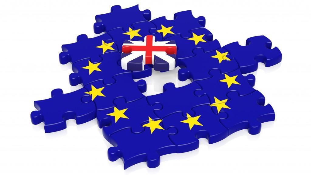 Jigsaw puzzle flag of European Union with United Kingdom flag piece, isolated on white